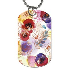 Watercolor Spring Flowers Background Dog Tag (Two Sides)