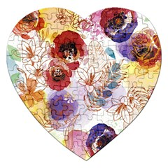 Watercolor Spring Flowers Background Jigsaw Puzzle (Heart)