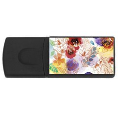 Watercolor Spring Flowers Background USB Flash Drive Rectangular (4 GB)