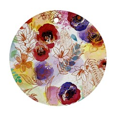 Watercolor Spring Flowers Background Round Ornament (Two Sides)