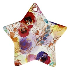 Watercolor Spring Flowers Background Star Ornament (Two Sides)