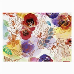 Watercolor Spring Flowers Background Large Glasses Cloth