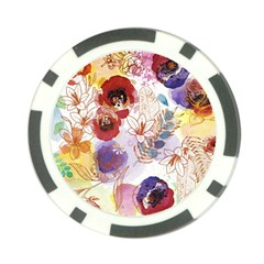 Watercolor Spring Flowers Background Poker Chip Card Guards (10 pack)
