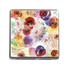 Watercolor Spring Flowers Background Memory Card Reader (Square)