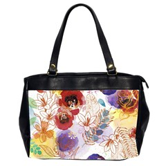 Watercolor Spring Flowers Background Office Handbags (2 Sides)