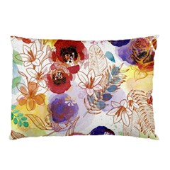 Watercolor Spring Flowers Background Pillow Case (Two Sides)
