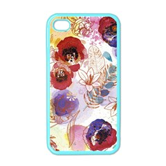 Watercolor Spring Flowers Background Apple iPhone 4 Case (Color)