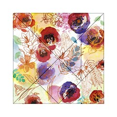 Watercolor Spring Flowers Background Acrylic Tangram Puzzle (6  x 6 )