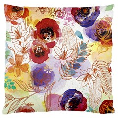 Watercolor Spring Flowers Background Large Cushion Case (Two Sides)