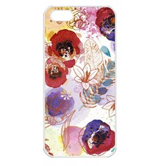 Watercolor Spring Flowers Background Apple iPhone 5 Seamless Case (White)