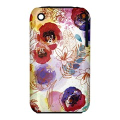Watercolor Spring Flowers Background Apple iPhone 3G/3GS Hardshell Case (PC+Silicone)