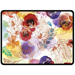 Watercolor Spring Flowers Background Double Sided Fleece Blanket (Large)