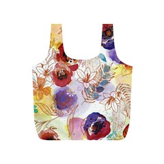 Watercolor Spring Flowers Background Full Print Recycle Bags (S)