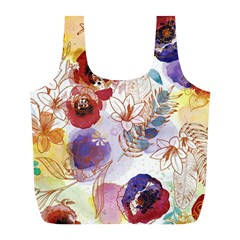 Watercolor Spring Flowers Background Full Print Recycle Bags (l)