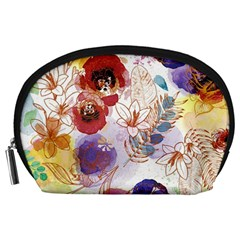 Watercolor Spring Flowers Background Accessory Pouches (Large)