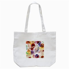 Watercolor Spring Flowers Background Tote Bag (White)
