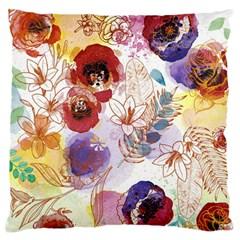 Watercolor Spring Flowers Background Standard Flano Cushion Case (One Side)