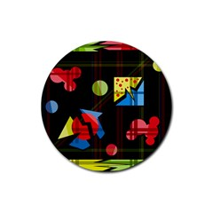 Playful day Rubber Round Coaster (4 pack)