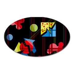 Playful day Oval Magnet