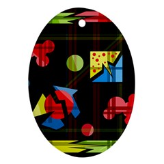 Playful day Oval Ornament (Two Sides)