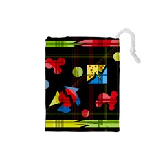 Playful day Drawstring Pouches (Small)