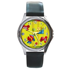 Playful day - yellow  Round Metal Watch