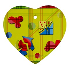 Playful day - yellow  Ornament (Heart)