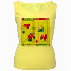 Playful day - yellow  Women s Yellow Tank Top