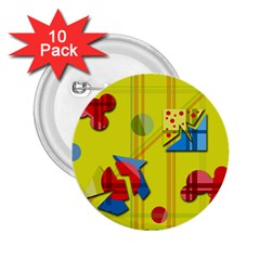 Playful day - yellow  2.25  Buttons (10 pack)