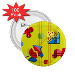 Playful day - yellow  2.25  Buttons (100 pack)