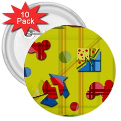 Playful day - yellow  3  Buttons (10 pack)