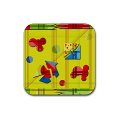 Playful day - yellow  Rubber Coaster (Square)