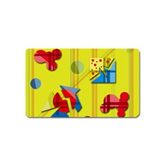 Playful day - yellow  Magnet (Name Card)