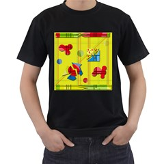Playful day - yellow  Men s T-Shirt (Black) (Two Sided)