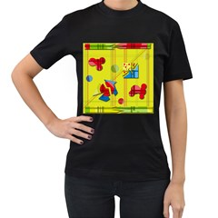 Playful day - yellow  Women s T-Shirt (Black) (Two Sided)