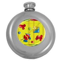 Playful day - yellow  Round Hip Flask (5 oz)