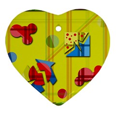 Playful day - yellow  Heart Ornament (2 Sides)