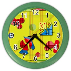 Playful day - yellow  Color Wall Clocks