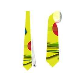 Playful day - yellow  Neckties (One Side)