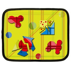 Playful day - yellow  Netbook Case (Large)