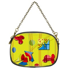 Playful day - yellow  Chain Purses (One Side)