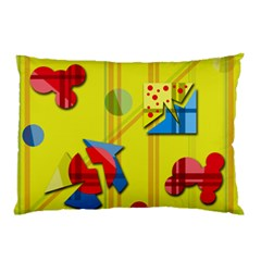 Playful day - yellow  Pillow Case