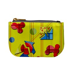 Playful day - yellow  Mini Coin Purses