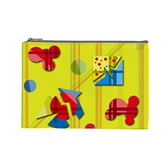 Playful day - yellow  Cosmetic Bag (Large)