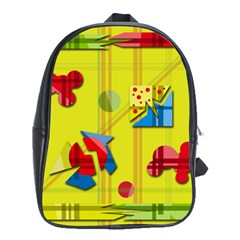 Playful day - yellow  School Bags(Large)
