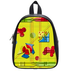 Playful day - yellow  School Bags (Small)
