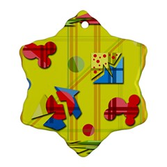 Playful day - yellow  Snowflake Ornament (2-Side)