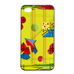 Playful day - yellow  Apple iPhone 4/4s Seamless Case (Black)