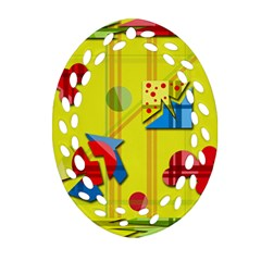 Playful day - yellow  Ornament (Oval Filigree)