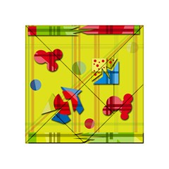 Playful day - yellow  Acrylic Tangram Puzzle (4  x 4 )